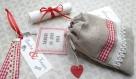 Petit sac du bonheur n 8 - lot de 10 faire-part de mariage en lin et dentelle -  faire part bohême, champêtre, collection bistrot