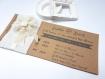 Faire part  mariage personnalisé bandeau lin et fleur tissu - 2 cartons  kraft ou vergé blanc cassé