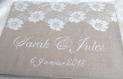 Livre d or mariage lin - invitation romantique - livre 46 pages, couverture rigide recouvert de lin - de nombreux modèles