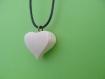 Pendentif coeur 3d bois monté en collier