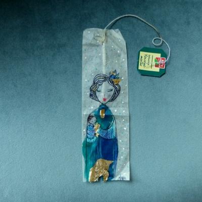 Marque-pages* sachet de thé* maternité bleutée