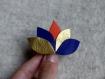 Barrette* accessoire coiffure* cuir et fleur de lotus
