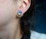 Boucles d'oreilles interchangeables* 2 en 1 * eventails et pastille dessinée main* fleurs