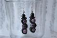 Boucles d'oreilles violets et noires (bo-004v)