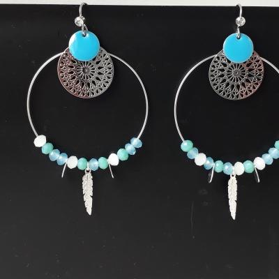 Créole argentée et perles facettées en dégradé de bleu