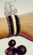 Bracelet manchette noir et beige à strass