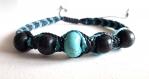 Bracelet macramé noir/turquoise