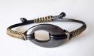 Bracelet cuir, macramé et hématite