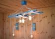 Plafonnier en bois en corde en coton et chaîne en acier, lustre éclatant d'été, rustique