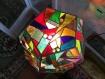Lampe dodecagonale en vitrail tiffany multicolore