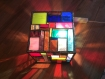 Lampe cubique en vitrail tiffany multicolore de 13 cm de côté