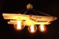 Plafonnier en bois vieilli, lustre, rustique, lumière en bois, ampoules edison