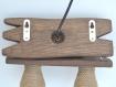 Applique murale en bois naturel avec chaînes en métal et abat-jour en corde, applique en bois, applique led
