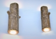 Ensemble d'appliques murales en bois, bougeoirs en bois, lampe à bois, éclairage en bois d'origine