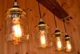 Pendentif lampe en bois d'un bocal en conserve, pot mason, lampe rustique, lustre de plafond, luminaire suspendu, luminaire rustique
