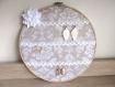 Porte bijoux - tambour à broder baroque beige et blanc