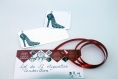 Lot de 12 étiquettes cadeaux «cendrillon» illustrées d'un escarpin noir et de 3 coccinelles