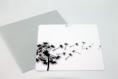 Carte postale «seminare» en gris, noir et blanc illustrée d'une fleur semant ses graines