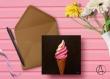 Carte postale «glace à l'italienne » illustrée d'une glace vanille-fraise en cornet