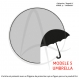 Carte postale «umbrella» à rayures graphiques noires illustrant un parapluie ouvert sous la pluie