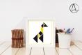 Affiche «girafe» illustrée d'un tangram de girafe jaune
