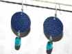 Boucles d'oreilles pastille cuir bleu