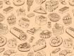 Set de table vintage, plastique, semi-rigide, design original - décoration de table - esthétique, lavable et résistant - aliments dÉco. tableau de patisseries 3.