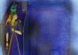 Set de table plastique, semi-rigide, design original - décoration de table - esthétique, lavable et résistant - art de l'Égypte antique, la déesse égyptienne isis avec un mur de hiéroglyphes en lapis lazuli.