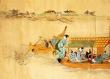 Set de table design, plastique, original, esthétique, lavable et résistant - semi-rigide. décoration de table - arts d'asie - peinture japonaise - croisement de barques.