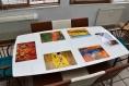 Set de table design, plastique, original, esthétique, lavable et résistant - semi-rigide. décoration de table - musique - duo de jazz, saxo et trompette.