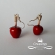 Boucles d'oreille pomme d'amour rouge