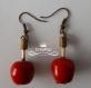 Boucles d'oreille pommes d'amour rouge