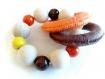 Anneau de préhension, anneau de dentition, hochet, perles en bois et anneaux en crochet marron et orange