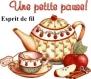Transfert sur drap ancien thème pause thé