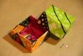 Boîte curcuma en tissu enduit