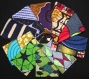 Porte-cartes en tissu wax et simili cuir -etoiles
