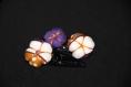 Barrettes fleurs par deux en tissu  - jacaranda