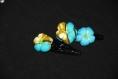 Barrettes fleurs par deux en tissu  - colibri