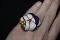 Bague en tissu - jacaranda anneau réglable