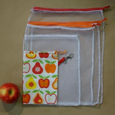 Sac à légumes, ensemble de sac à vrac, zéro déchets, poche fruits et légumes,filet à fruit