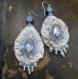 Boucles d'oreilles textile cristaux d'hiver