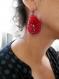 Vendues-boucles d'oreilles textile rouge amour