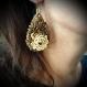 Boucles d'oreilles pendantes- textille, goutte  praline