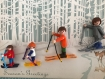 Cadre,playmobil famille au ski vintage