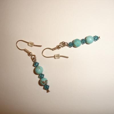 Boucles d'oreilles en turquoise et cristal de swarovski