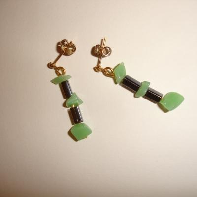 Boucles d'oreilles en jade malaisien et hématite