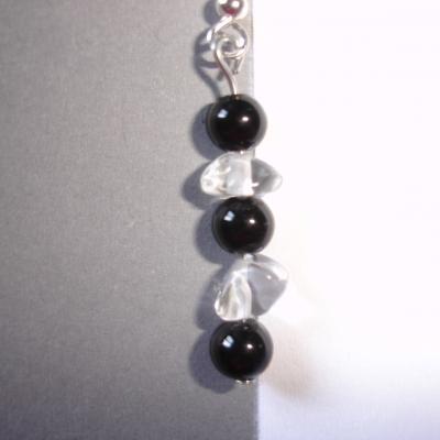 Boucles d'oreilles en onyx noir et cristal de roche