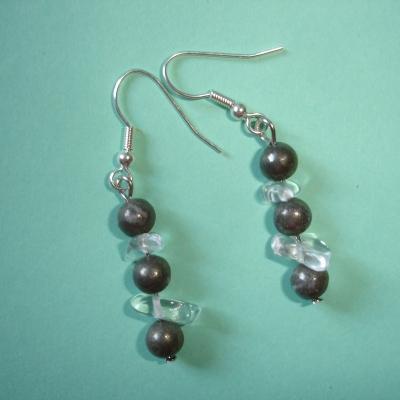 Boucles d'oreilles en pyrite et cristal de roche