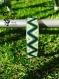 Bracelet vert et blanc en perles miyuki sur manchette - tissage peyote -