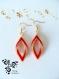 Boucle d'oreille losange torsadé or et rouge en perle miyuki - peyote -